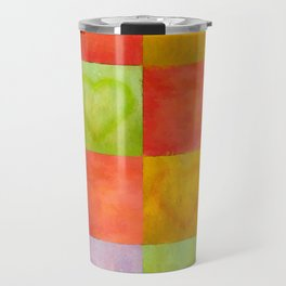 Colored Tiles with Hearts Travel Mug
