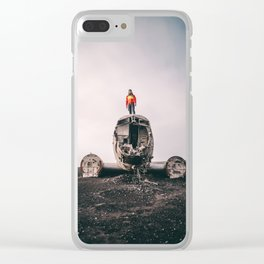 Iceland Airplane Wreck Clear iPhone Case