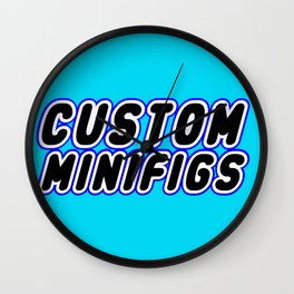 CUSTOM MINIFIGS in Brick Font Logo Design [Alternate Colors] by Chillee Wilson Wall Clock