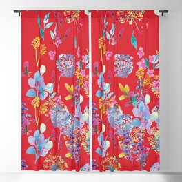 Fridas Flowers in Red Blackout Curtain