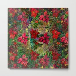 Poinsettia and Holly Metal Print