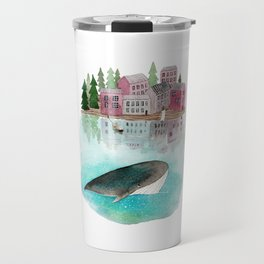 A whale is passing by Travel Mug