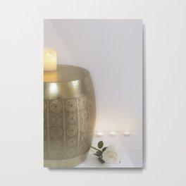 Velas y decoración hindu minimalista Metal Print