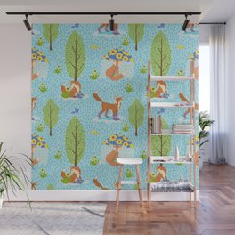 Foxes in Galoshes Wall Mural