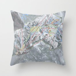 Squaw Valley Resort Trail Map Throw Pillow