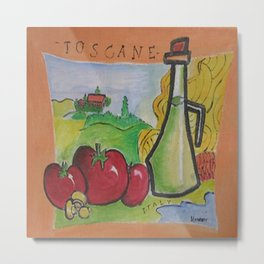 Hand Painted Toscane Italy  in Canvass Metal Print