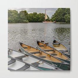 Kayaks on the Broads Metal Print