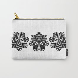 Three Black Concentric Flowers Carry-All Pouch