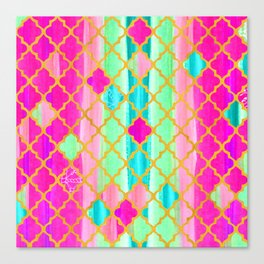 Moroccan Tile Pattern In Neon Pink And Green Canvas Print