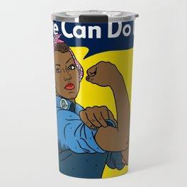 Black Rosie the Riveter Travel Mug