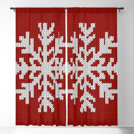 Knitted Christmas decoration white snowflake on red Blackout Curtain
