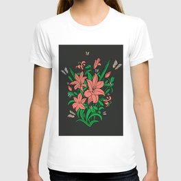 Abstract flowers and butterflies with background T-shirt