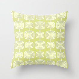 Mid Century Modern Atomic Rings Pattern 731 Chartreuse Throw Pillow