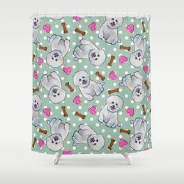 Fun Bichon Frise Pattern on Polka Dots Shower Curtain