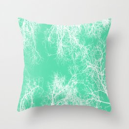 White silhouetted trees on green Throw Pillow