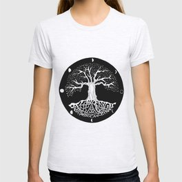 black and white tree of life with moon phases and celtic trinity knot T-shirt
