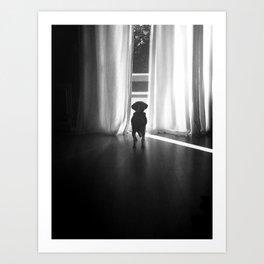 Peeking Out - Noir Art Print