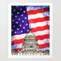 American Flag And Capitol Building by politics