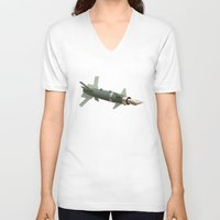 aviation V-neck T-shirts featuring sky writing by Nicholas Ely
