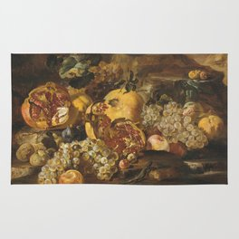 Abraham Brueghel - Pomegranates And Other Fruit In A Landscape Rug