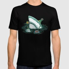 Happy Birthday Shark Mens Fitted Tee Black LARGE