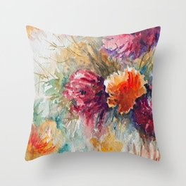 Watercolor Floral Bouquet  Throw Pillow