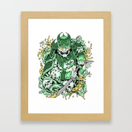 Japanese Samurai with demon mask and sword Framed Art Print