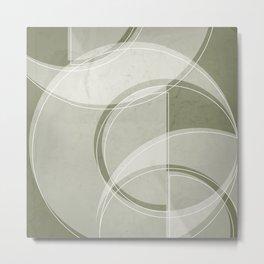 Where the Circles and Semi-Circles Meet in Sage Green Metal Print