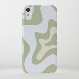 Liquid Swirl Contemporary Abstract Pattern in Light Sage Green iPhone Case