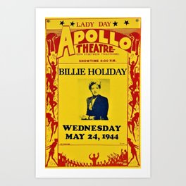 1944 Billie Holiday Concert Poster Apollo Theater Art Print