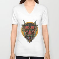 demon V-neck T-shirts featuring Demon by MIRKOW GASTOW
