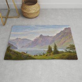 Landscape with Mountain Lake, Morning by Caspar David Friedrich Rug