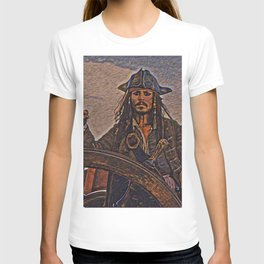 Pirates of the caraibbean Jack Sparrow Artistic Illustration Ancient Adventure Style T-shirt