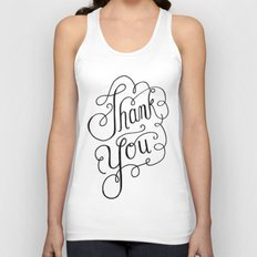 Thank you Hand Lettered Calligraphy Unisex Tank Top