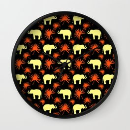 Wild African bright yellow little elephants, orange exotic tropical leaves animal plant pattern Wall Clock