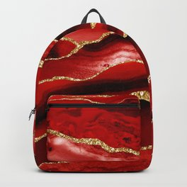 Fire Red Marble With Gold Glitter  Backpack