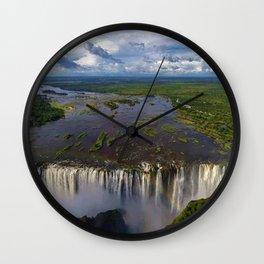 Victoria Falls with Rainbow, Zambia and Zimbabwe, Africa Wall Clock