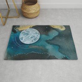 Moon Series #6 Watercolor + Ink Painting Rug