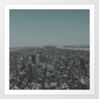 manhattan Art Prints featuring Manhattan by Leah Flores