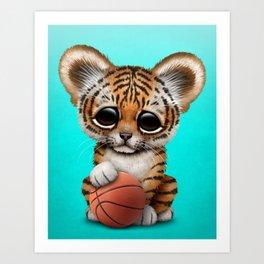 Tiger Cub Playing With Basketball Art Print
