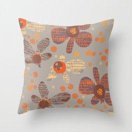 Retro Orange Flowers - Grey Throw Pillow