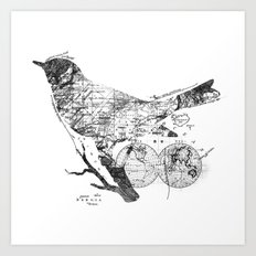 Bird Wanderlust Black and White Art Print