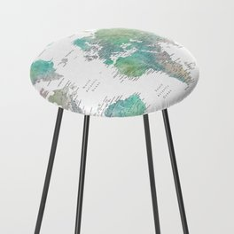 Watercolor world map in muted green and brown Counter Stool