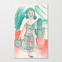 succulent Canvas Prints featuring Succulent by Kathryn Twirls