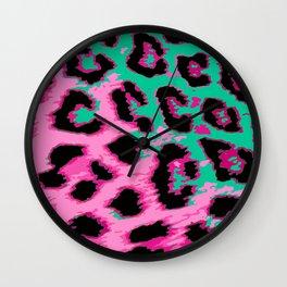 Hot Pink and Aqua Leopard Spots Wall Clock