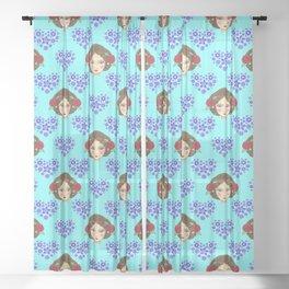 Beautiful boho girl dolls, pretty floral hearts feminine artistic romantic nursery pattern Sheer Curtain