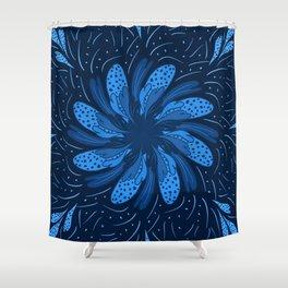 Blue Flower Tile Shower Curtain