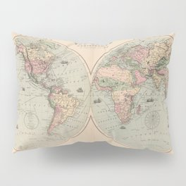 Vintage Map of The World (1873) Pillow Sham