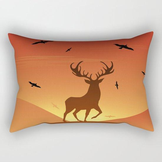 Deer at sunset Rectangular Pillow