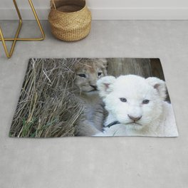 White and Gold Baby Lion Cubs! Rug
